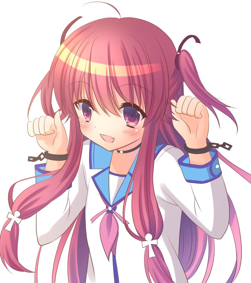 angel_beats! fang kuro_futoshi long_hair open_mouth pink_eyes pink_hair school_uniform yui_(angel_beats!)