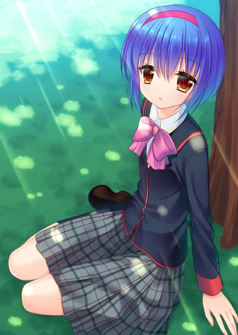 1girl blue_hair brown_eyes hairband kuro_futoshi little_busters! nishizono_mio open_mouth ribbon school_uniform short_hair sitting skirt tree
