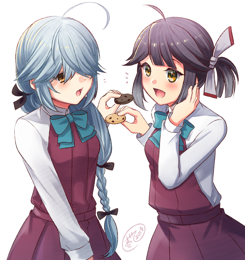 2girls :d ahoge aqua_bow aqua_neckwear black_hair blush bow bowtie braid brown_eyes cookie dress food hair_ribbon hamanami_(kantai_collection) hayanami_(kantai_collection) holding holding_food ittokyu kantai_collection long_hair long_sleeves multiple_girls open_mouth ponytail purple_dress ribbon shirt short_hair signature silver_hair simple_background single_braid sleeveless sleeveless_dress smile white_background white_ribbon white_shirt