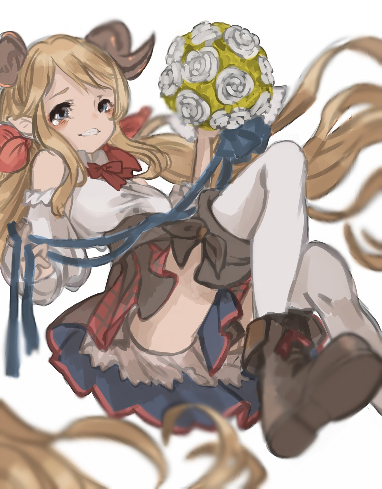 1girl adapted_costume ankle_boots blue_eyes blush boots brown_boots doraf granblue_fantasy hallessena highres horns long_hair miu_(minnncho) orange_hair plaid plaid_skirt pointy_ears red_skirt simple_background skirt solo tears thigh-highs very_long_hair white_background white_legwear