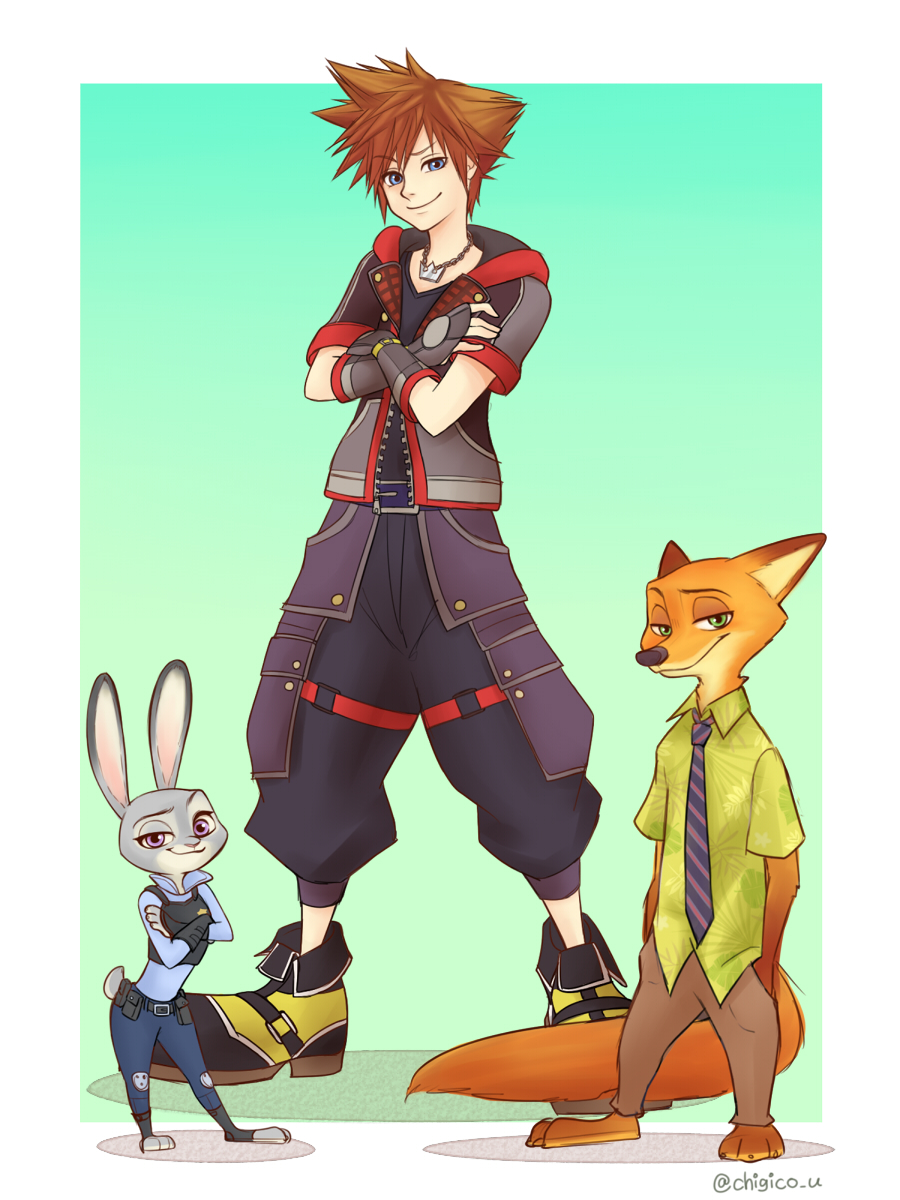 1boy disney furry judy_hopps kingdom_hearts nick_wilde sora zootopia