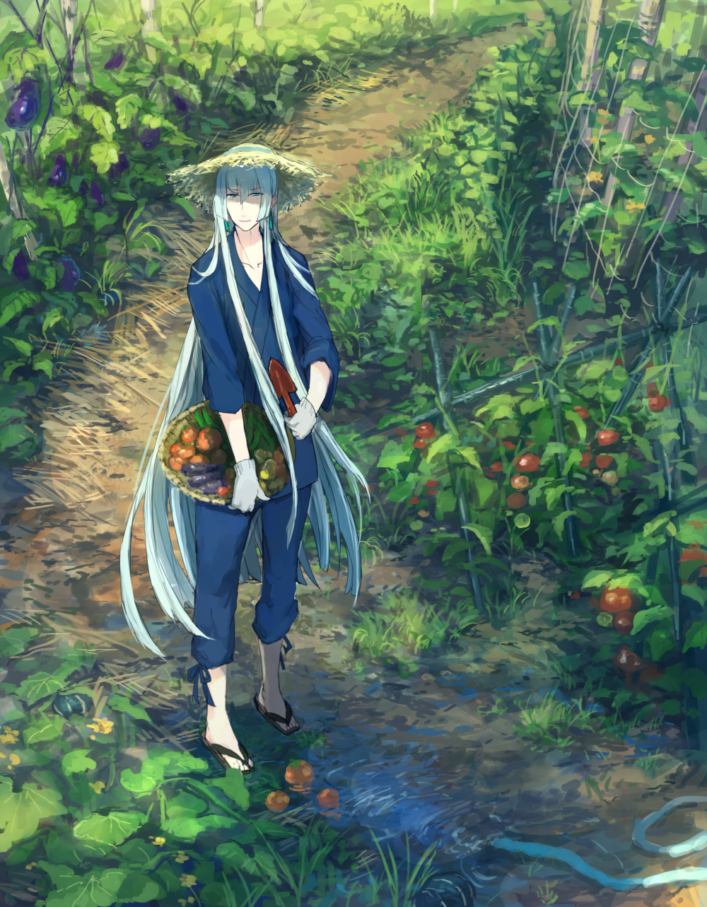 1boy basket blue_eyes blue_hair cucumber eggplant full_body garden hat highres japanese_clothes kousetsu_samonji leaf long_hair male_focus personification pippi_(pixiv_1922055) sandals solo straw_hat tomato touken_ranbu trowel very_long_hair