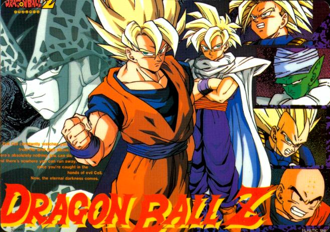 6+boys arms bald black_eyes blonde_hair cell_(dragon_ball) dragon_ball dragon_ball_z forehead kuririn male male_only multiple_boys muscles perfect_cell piccolo pointy_ears son_gohan son_goku spiky_hair super_saiyan teeth trunks_(dragon_ball) trunks_(future)_(dragon_ball) turquoise_eyes vegeta