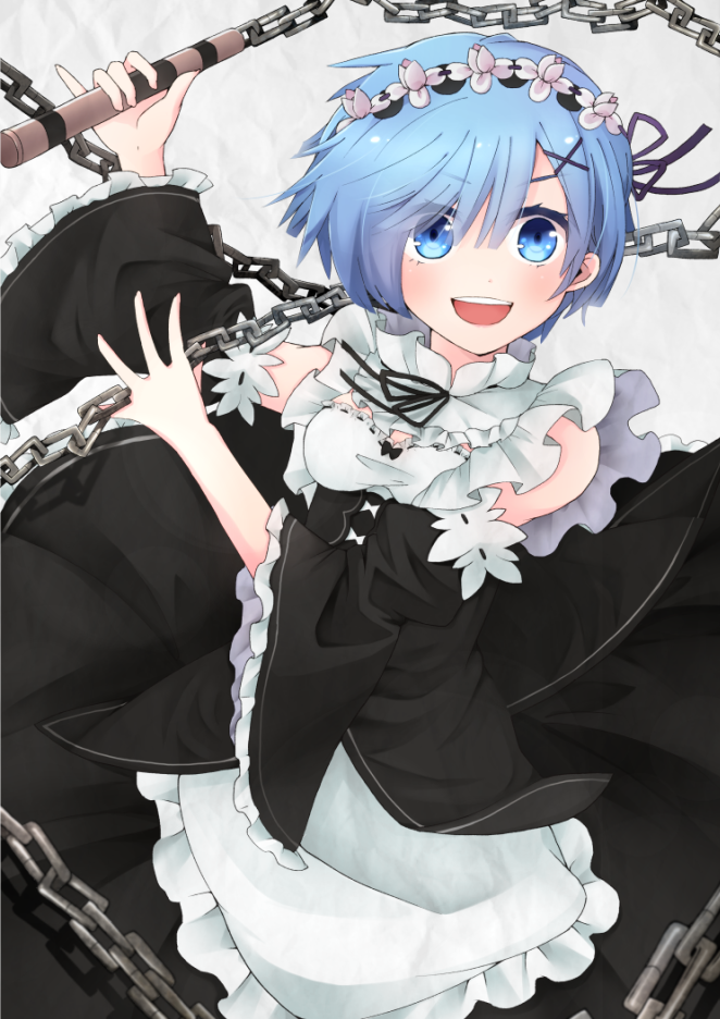 >:d :d black_ribbon blue_eyes blue_hair blush breasts chains detached_collar detached_sleeves eyebrows eyebrows_visible_through_hair holding holding_weapon maid maid_headdress misoradeko open_mouth pinky_out re:zero_kara_hajimeru_isekai_seikatsu rem_(re:zero) ribbon ribbon-trimmed_sleeves ribbon_trim silhouette smile weapon x_hair_ornament