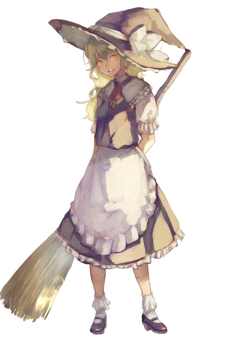 1girl apron blonde_hair broom full_body hat hat_ribbon kagari_(kgr_000) kirisame_marisa long_hair looking_at_viewer mary_janes open_mouth puffy_sleeves ribbon shirt shoes short_sleeves simple_background skirt skirt_set smile socks solo touhou vest waist_apron white_background white_legwear witch_hat yellow_eyes