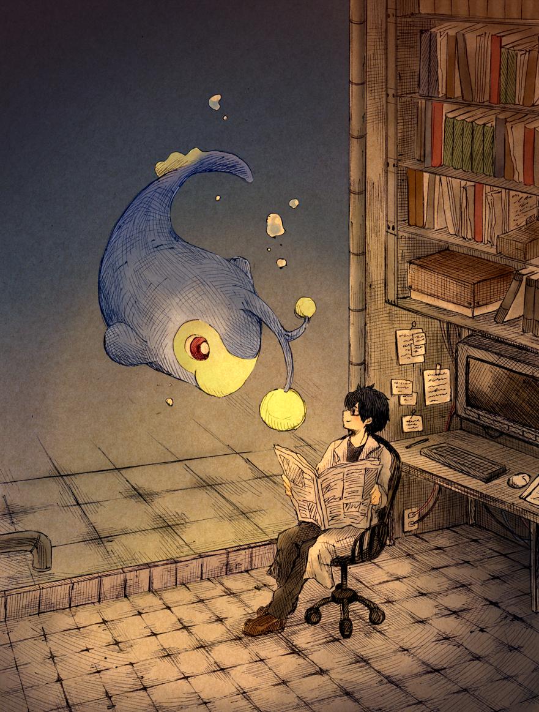 black_hair book bookshelf chair labcoat lanturn matsuri_(matsuike) paper pokemon sitting
