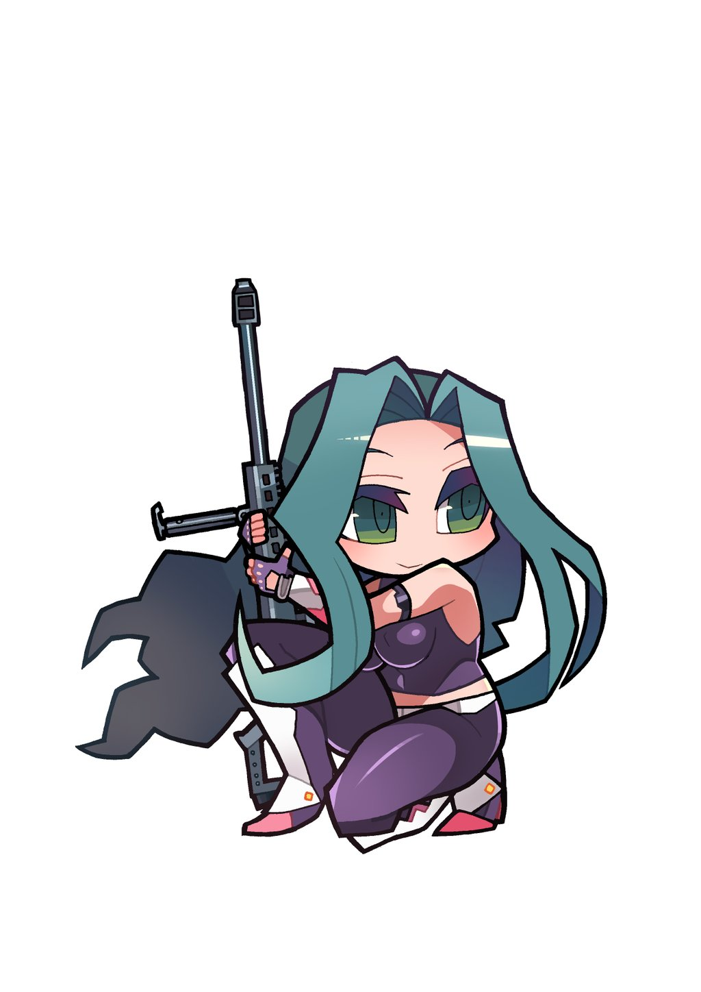 1girl breasts chibi female gun kometsubu large_breasts latex long_hair makishima_ayame rifle smile sniper sniper_rifle solo taimanin_kurenai weapon wind zol