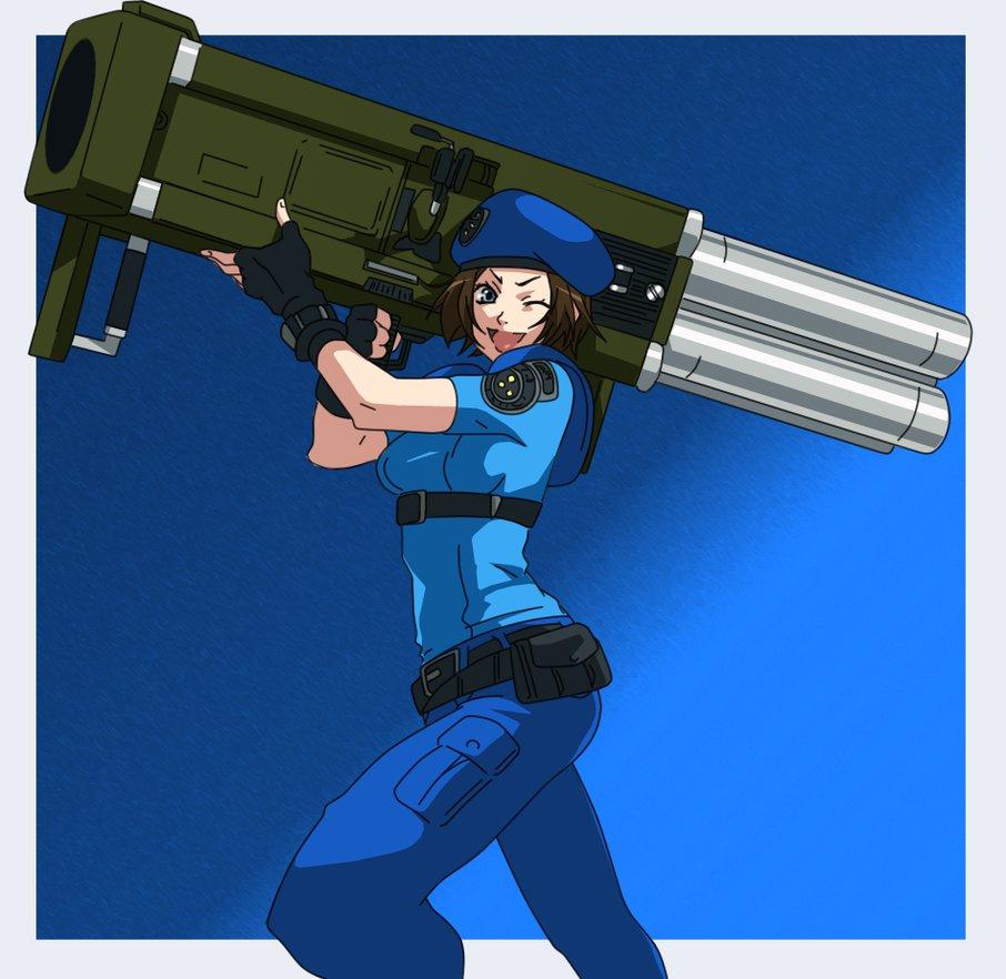 1girl blue_eyes brown_hair capcom jill_valentine resident_evil rocket_launcher short_hair solo weapon