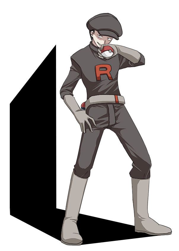 1boy boots full_body gloves hat male_focus npc_trainer poke_ball pokemon qta_(chokob) solo team_rocket team_rocket_grunt uniform white_background