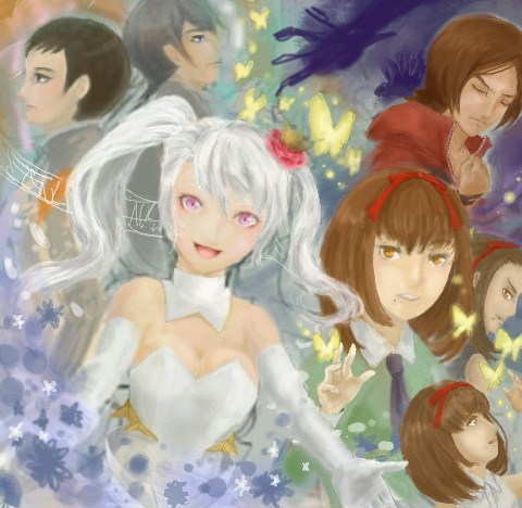 2boys 3girls artist_request black_hair brown_hair butterfly caligula_(game) creator_connection dark_persona digital_devil_saga lowres mu_(caligula) multiple_boys multiple_girls multiple_persona persona persona_1 persona_2 philemon_(butterfly) sera serph silver_hair sonomura_maki suou_tatsuya white_hair