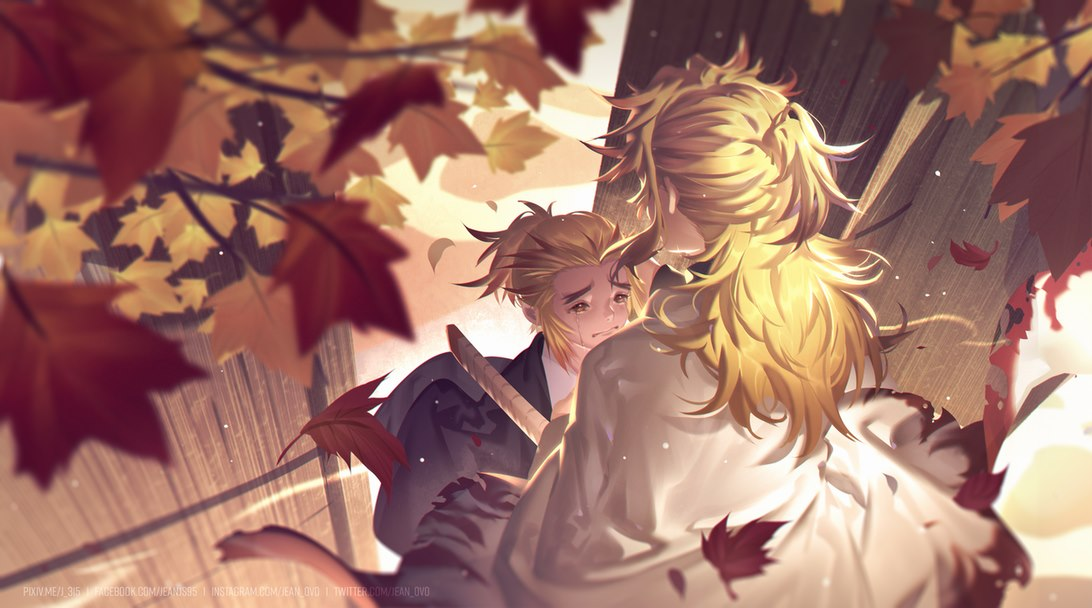 2boys autumn_leaves blonde_hair blurry brothers brown_eyes child commentary_request crying crying_with_eyes_open day depth_of_field facing_away falling_leaves from_above gate half_updo haori height_difference j_315_(jean) japanese_clothes kimetsu_no_yaiba leaf long_hair male_focus multiple_boys outdoors pout rengoku_kyoujurou rengoku_senjurou sad siblings smile sword tears torn_clothes tree_branch upper_body watermark weapon wooden_door