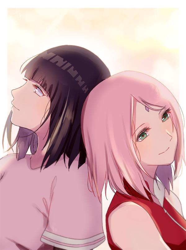 2girls haruno_sakura hime_cut hyuuga_hinata karudoll lavender_eyes multiple_girls naruto pink_hair purple_hair short_hair