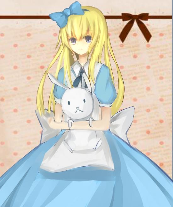 1girl alice_liddell animal blonde_hair blue_dress blue_eyes bow dress hair_bow hair_ornament heart_no_kuni_no_alice large_bow long_hair rabbit rabbit ryotaruu solo