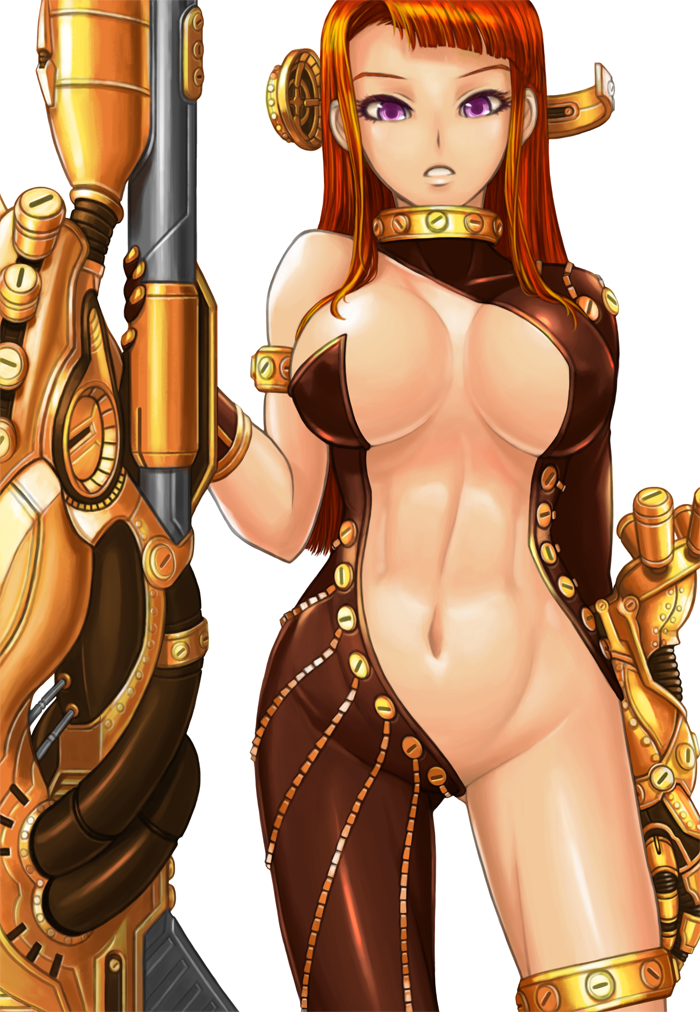 1girl bodysuit breasts cleavage female large_breasts long_hair navel orange_hair simple_background sniper solo su.mi. violet_eyes weapon