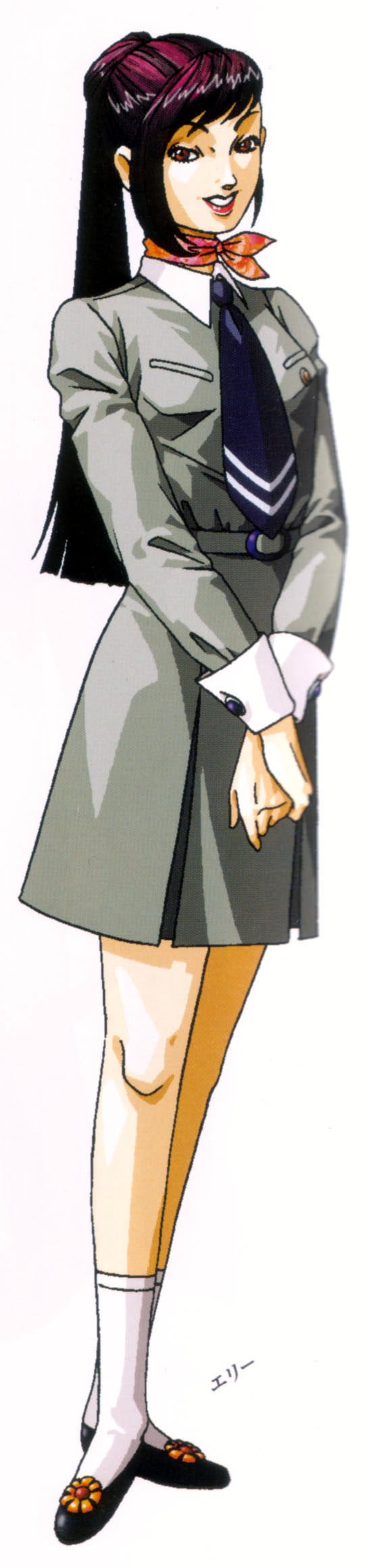 artist_request kirishima_eriko looking_at_viewer official_art persona persona_1 ponytail red_eyes