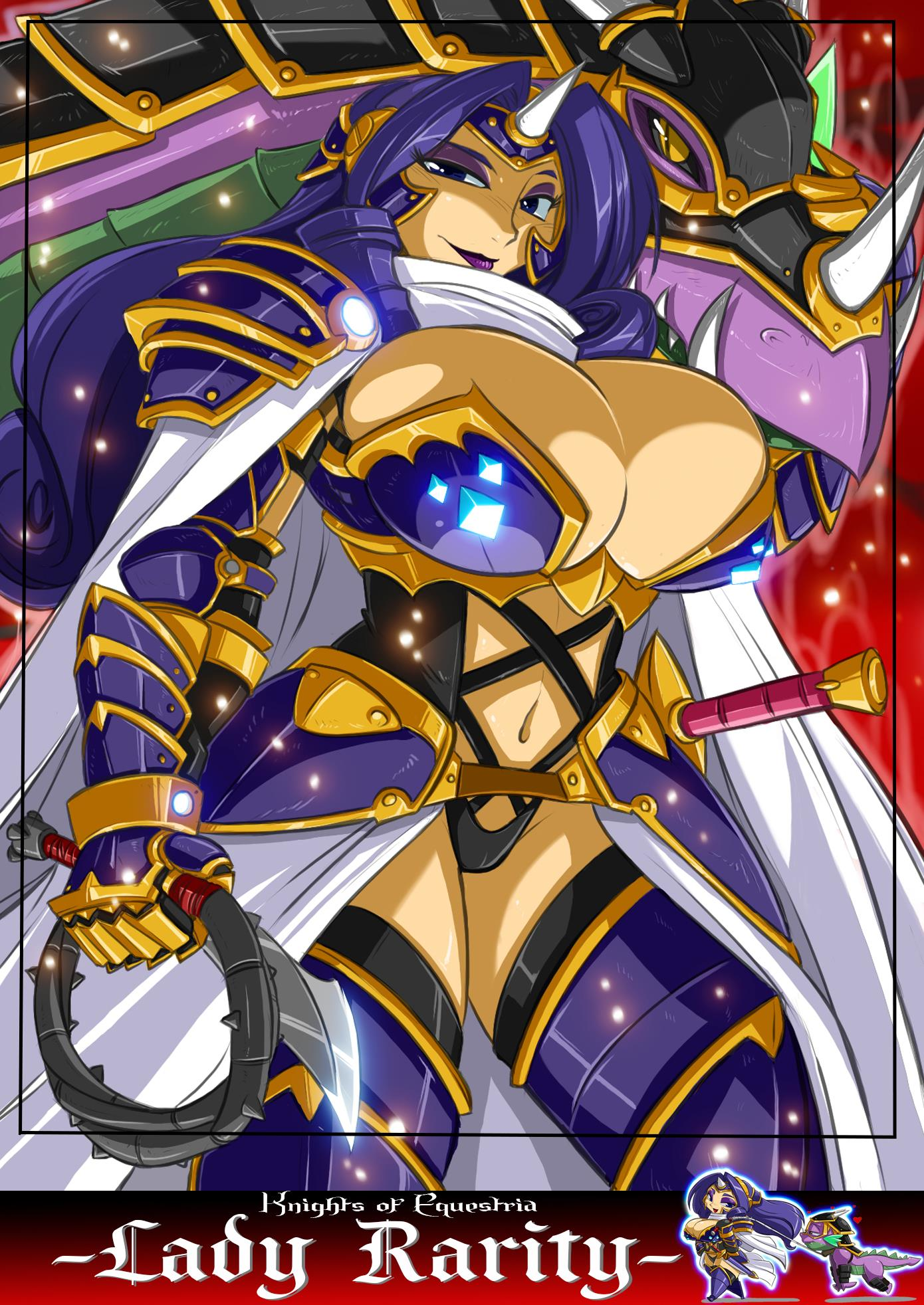 armor breasts huge_breasts my_little_pony my_little_pony_friendship_is_magic personification purple_hair rarity shonuff44 whip