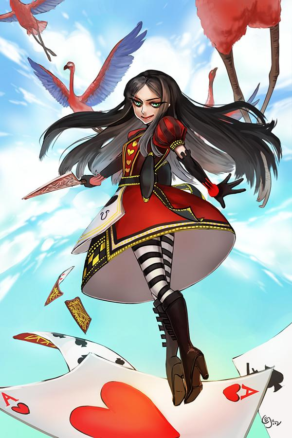 1girl alice:_madness_returns alice_in_wonderland alice_liddell american_mcgee's_alice birds black_hair boots cards elbow_gloves gloves high_heel_boots high_heels knife long_hair striped_legwear thigh-highs