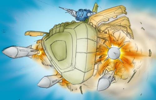 firing gundam gundam_ms_igloo mecha missile tasoku_hokou_heiki ze'gok