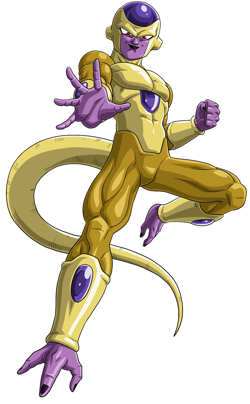 1boy alien dragon_ball dragonball_z evil flying frieza full_body golden_frieza male_focus muscle pose render simple_background smile solo tail
