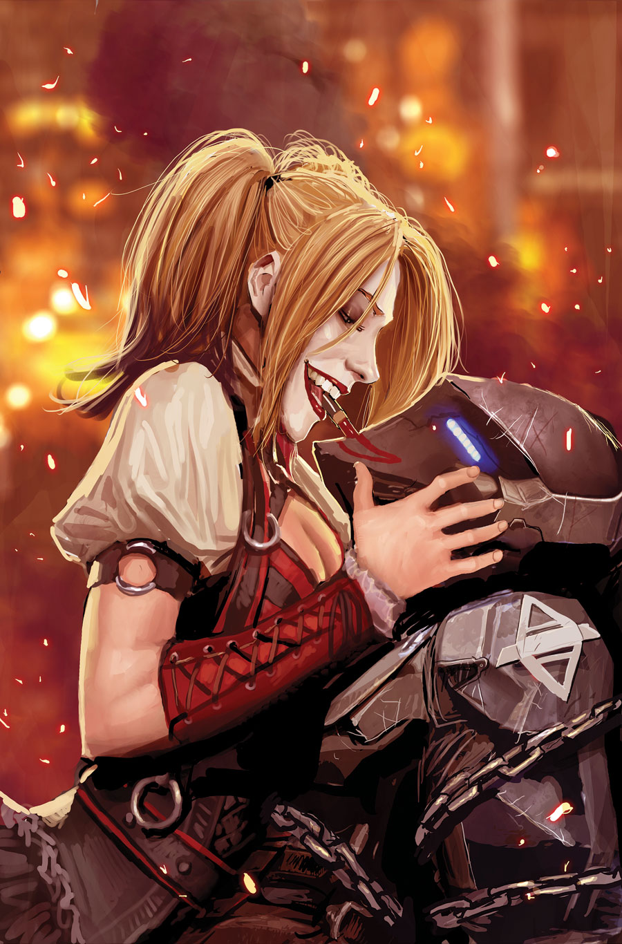 1girl arkham_knight armor batman:_arkham batman_(series) breasts chains cleavage dc_comics gradient gradient_background harley_quinn jason_todd lipstick makeup power_armor smile twintails
