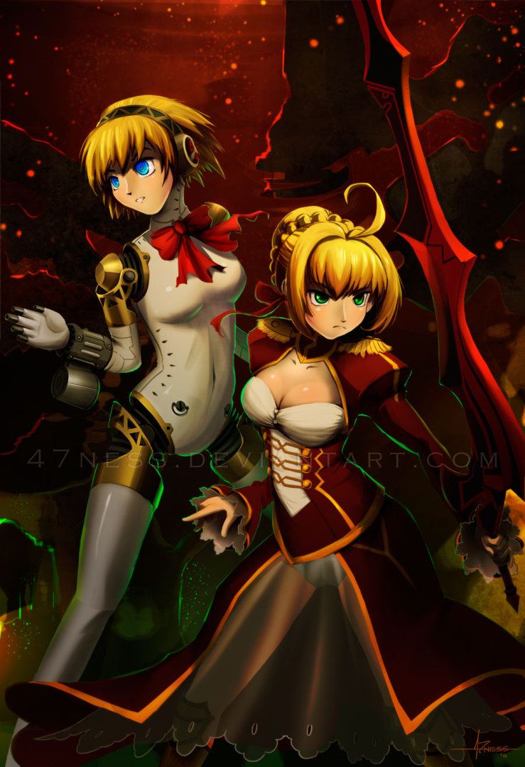 2girls 47ness aegis aegis_(persona) bare_shoulders blue_eyes breasts crossover dress fate/stay_night fate_(series) gradient gradient_background green_eyes highres multiple_girls persona persona_3 saber sawashiro_miyuki short_hair sleeveless sparkle sword thigh-highs watermark weapon