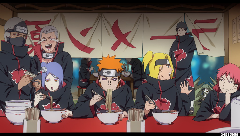 1girl 6+boys akatsuki_(naruto) amber_eyes black_hair blonde_hair blue_hair bowl cash chopsticks deidara eye_shadow eyebrows eyeshadow fingernails fingers food forehead_protector green_hair hands headband hidan hoshigaki_kisame jewelry kakuzu kanji konan makeup multiple_boys nail_polish naruto naruto_shippuuden noodles open_mouth orange_eyes orange_hair pain_(naruto) pain_(tendo) ramen redhead ring rinnegan sasori silver_hair spiky_hair uchiha_itachi uchiha_obito violet_eyes yahiko_(naruto) zetsu