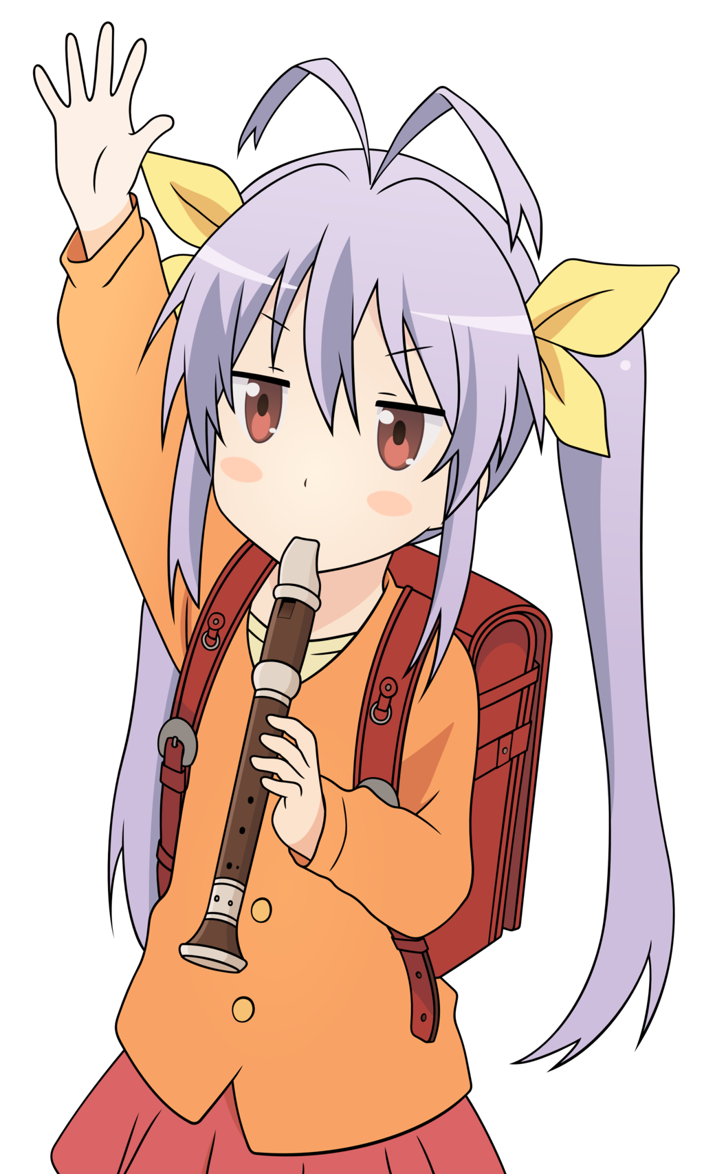 backpack bag blush blush_stickers instrument ironanjuu long_hair miyauchi_renge non_non_biyori purple_hair randoseru recorder red_eyes school_uniform simple_background skirt tied_hair twintails waving white_background