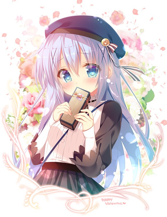 1girl bangs beret blue_eyes blush box covering_mouth gift gift_box gochuumon_wa_usagi_desu_ka? hair_ornament hat hat_ribbon holding holding_gift kafuu_chino lavender_hair long_hair long_sleeves looking_at_viewer mitsumomo_mamu petals ribbon ribbon-trimmed_collar ribbon_trim shoulder_strap skirt sleeves_past_wrists solo striped striped_ribbon valentine x_hair_ornament