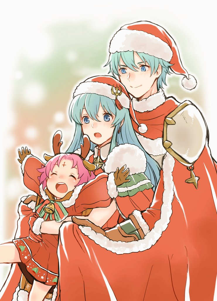 1boy 2girls akina_(akn_646) antlers aqua_eyes aqua_hair bell bow brother_and_sister brown_gloves cape closed_mouth dress eirika ephraim fa facial_mark fire_emblem fire_emblem:_fuuin_no_tsurugi fire_emblem:_seima_no_kouseki fire_emblem_heroes forehead_mark fur_trim gloves hat hug hug_from_behind long_sleeves mamkute multiple_girls nintendo open_mouth outstretched_arms pom_pom_(clothes) purple_hair red_gloves red_hat reindeer_antlers santa_costume short_hair siblings smile spread_arms