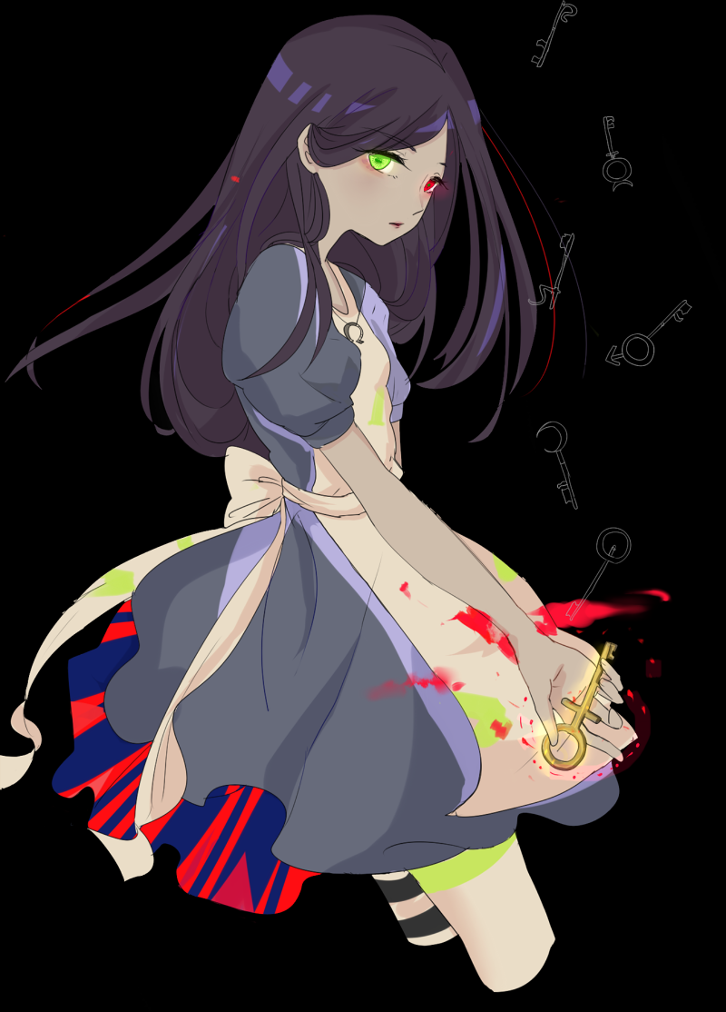 1girl alice:_madness_returns alice_(wonderland) alice_in_wonderland alice_liddell american_mcgee's_alice apron black_hair dress jewelry key long_hair md5_mismatch necklace simple_background solo