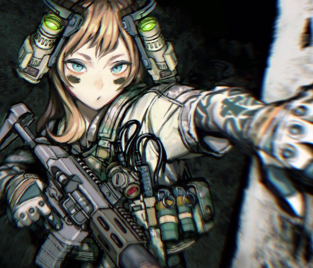 1girl artist_request blue_eyes blurry brown_hair character_request depth_of_field eye_black face_paint face_painting facepaint gloves gun operator solo tattoo weapon