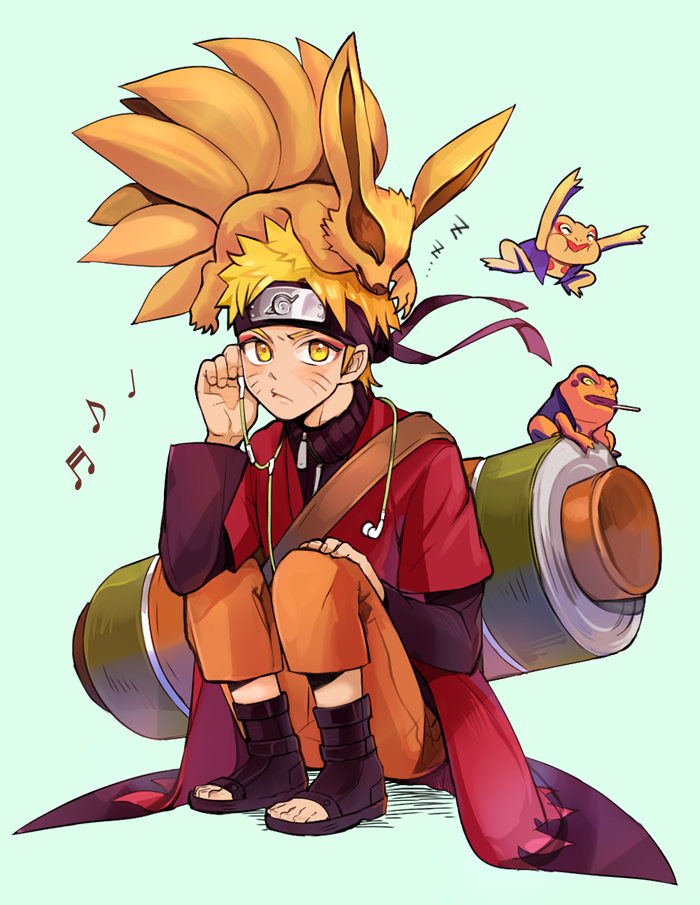 1boy amphibian_eyes animal animal_on_head blonde_hair boring_(brtgm) cloak forehead_protector fox frog_eyes gamakichi gamatatsu headphones kurama_(naruto) multiple_tails musical_note naruto naruto_shippuuden pout scroll sitting sleeping spiky_hair strap tail toad_(animal) toeless_boots uzumaki_naruto whiskers zipper