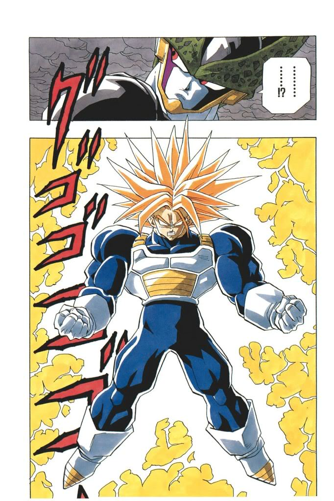 2boys 3rd_grade_super_saiyan cell_(dragon_ball) comic dragon_ball dragon_ball_z male_focus multiple_boys muscle official_art perfect_cell spiky_hair super_saiyan toriyama_akira trunks_(dragon_ball) trunks_(future)_(dragon_ball) white_background