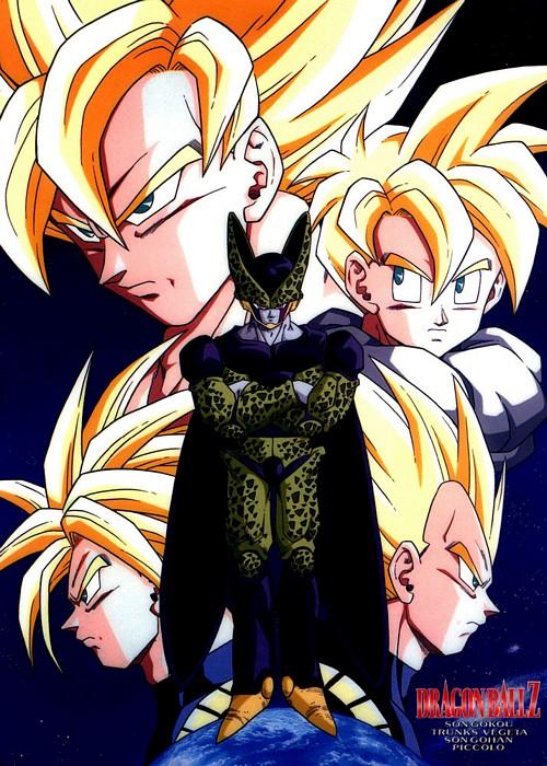 5boys cell_(dragon_ball) dragon_ball dragon_ball_z male_focus multiple_boys perfect_cell son_gohan son_goku space super_saiyan trunks_(dragon_ball) trunks_(future)_(dragon_ball) vegeta