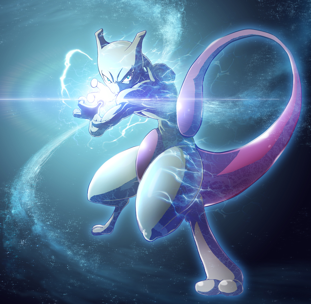 energy mewtwo no_humans pokemon solo tail