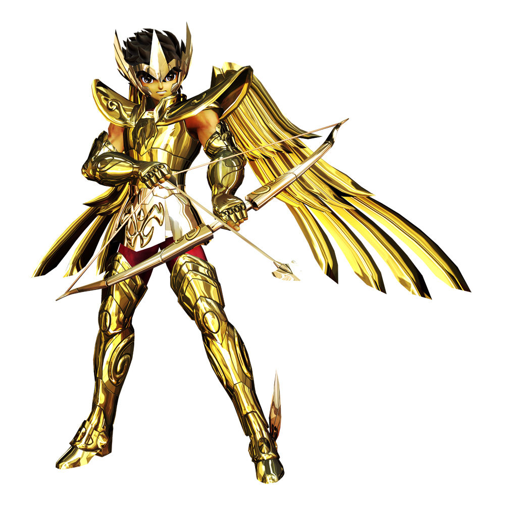 1boy armor arrow brown_eyes brown_hair full_armor gauntlets gold gold_saint official_art official_artwork pants pauldrons sagittarius saint_seiya saint_seiya:_sanctuary_battle short_hair shoulder_pads solo tiara wings