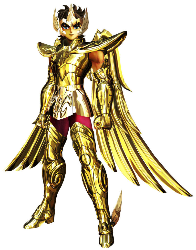1boy armor brown_eyes brown_hair full_armor gauntlets gold gold_saint official_art official_artwork pants pauldrons sagittarius sagittarius_aiolos saint_seiya saint_seiya:_sanctuary_battle short_hair shoulder_pads solo tiara wings