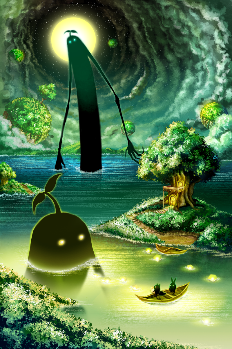 4others boat check_commentary commentary_request fantasy floating_island giant highres lake multiple_others nature night no_humans original outdoors scenery size_difference tomi_(tymetravel) tree treehouse watercraft