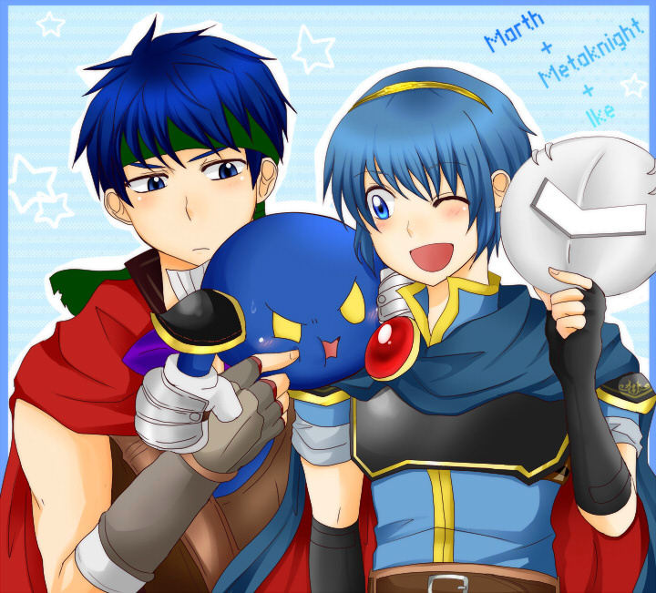 3boys angry artist_request blue_eyes blue_hair blush cape dairantou!_smash_brothers_x fingerless_gloves fire_emblem fire_emblem:_monshou_no_nazo fire_emblem:_souen_no_kiseki gloves hal_laboratory_inc. headband hoshi_no_kirby hoshi_no_kirby:_yume_no_izumi_no_monogatari ike intelligent_systems kirby's_adventure kirby_(series) kirby_(specie) marth mask meta_knight multiple_boys nintendo open_mouth pauldrons poking project_m short_hair shoulder_pads smile sora_(company) super_smash_bros. super_smash_bros_brawl sweatdrop tiara wink yellow_eyes