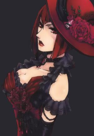1girl breasts female kuroshitsuji large_breasts lowres madam_red redhead solo upper_body