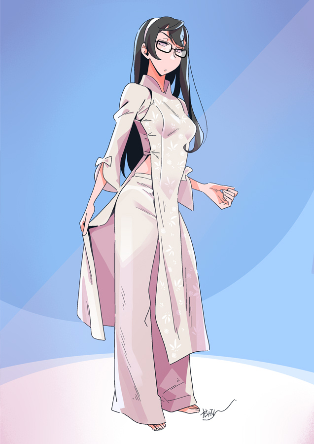 1girl barefoot black_hair blue_background blue_eyes callan_(callancoe) dress full_body hairband kantai_collection long_hair looking_at_viewer ooyodo_(kantai_collection) pants semi-rimless_eyewear side_slit signature solo standing under-rim_eyewear vietnamese_dress white_dress white_pants