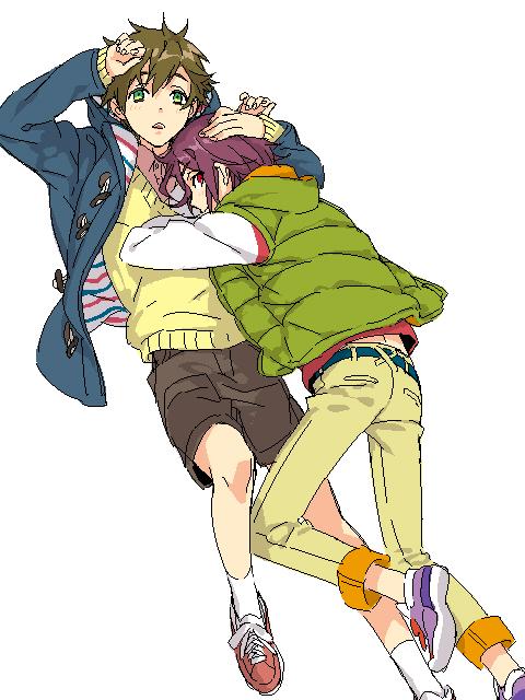 2boys akekure child free! male_focus matsuoka_rin multiple_boys simple_background tachibana_makoto tagme white_background