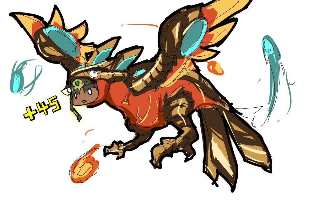 animal_ears bastet_(p&d) cat_ears cfil dark_skin gameplay_mechanics headdress horus_(p&d) puzzle_&_dragons vore