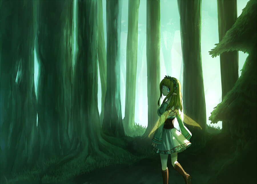 1girl aqua_eyes blonde_hair erubo fairy fairy_wings forest long_hair long_sleeves looking_back nature original pointy_ears puffy_sleeves solo tree wings