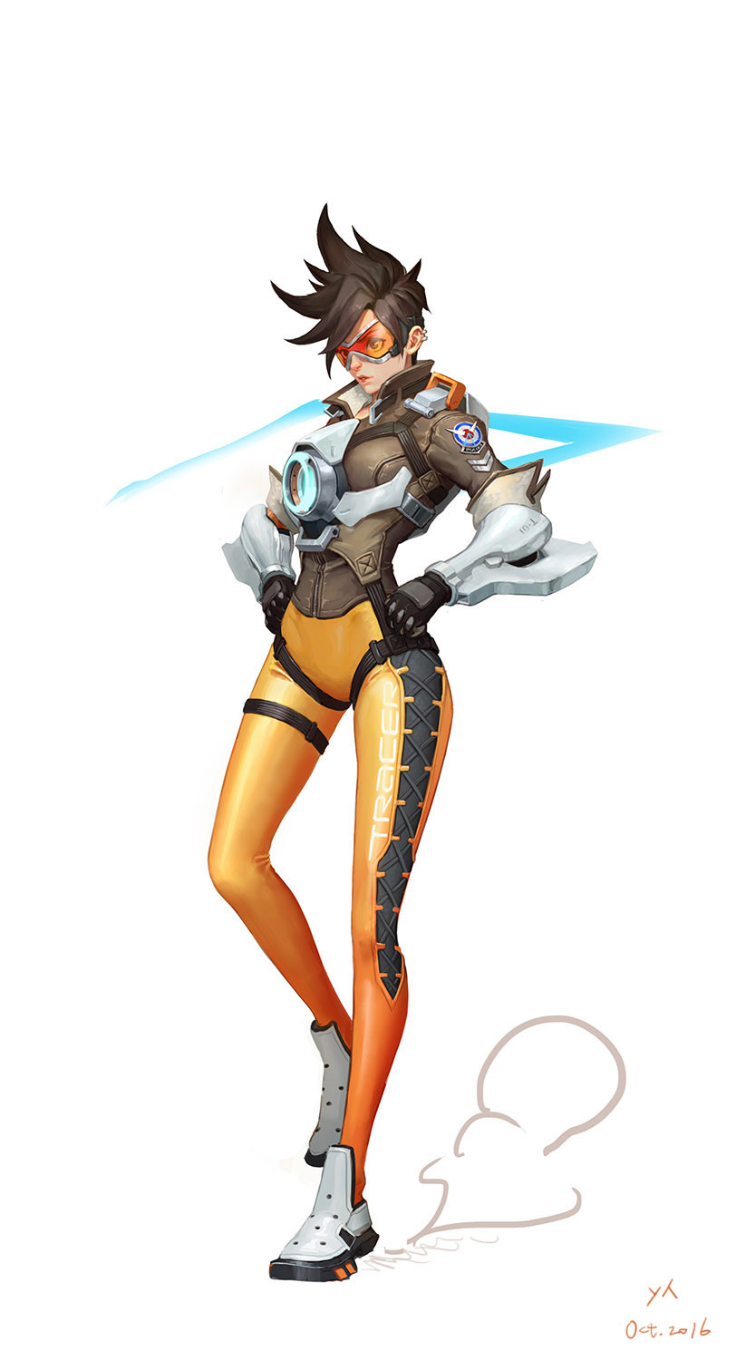 1girl bangs black_gloves bodysuit bomber_jacket breasts brown_eyes brown_hair brown_jacket clothes_writing cross-laced_clothes cross-laced_legwear ear_piercing full_body fur_trim gloves goggles hands_on_hips harness highres jacket leather leather_jacket lips military_rank_insignia nose orange_bodysuit overwatch pants parted_lips piercing pink_lips shen_yh shoes short_hair short_sleeves simple_background sleeves_rolled_up solo spiky_hair standing standing_on_one_leg strap swept_bangs thigh_strap tight tight_pants tracer_(overwatch) vambraces weapon white_background white_shoes