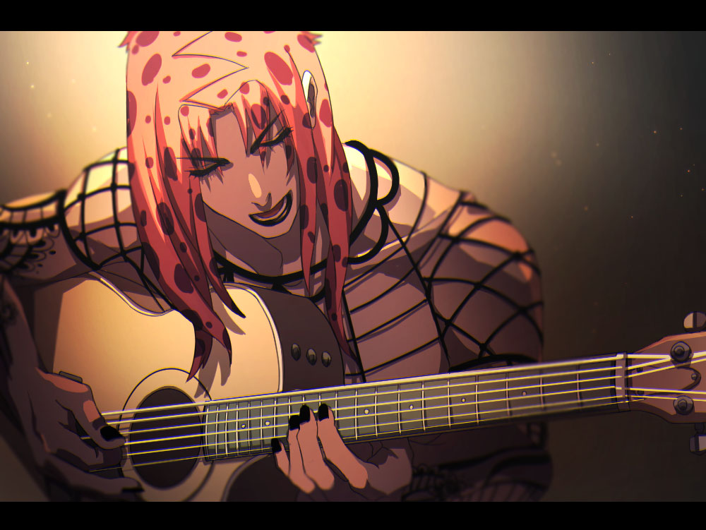 1boy black_lipstick black_nails diavolo eyebrows eyebrows_visible_through_hair eyes_visible_through_hair fishnets guitar instrument jojo_no_kimyou_na_bouken letterboxed light lipstick long_hair makeup male_focus music nail_polish open_mouth pink_hair playing_instrument solo upper_body yanoooh