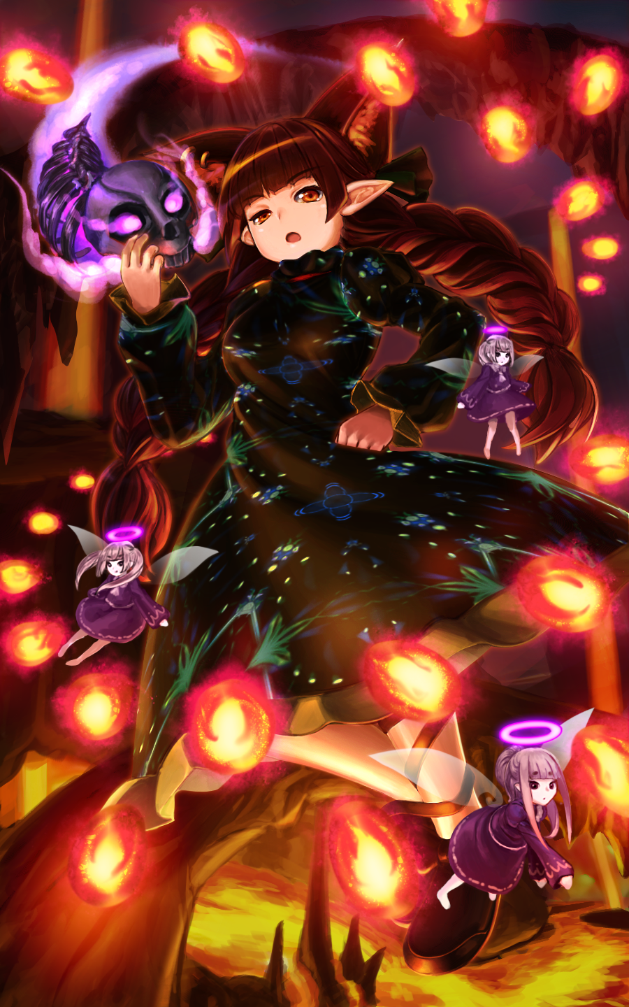 animal_ears bangs black_bow bow braid cat_ears cat_tail danmaku dress extra_ears fire frilled_dress frills glowing green_dress hair_bow halo hand_on_hip highres kaenbyou_rin long_hair long_sleeves looking_at_viewer looking_away mikami_yuuki_(nl8you) molten_rock multiple_tails nekomata puffy_long_sleeves puffy_sleeves purple_dress red_eyes redhead skull stalactite stalagmite tail touhou twin_braids very_long_hair zombie_fairy