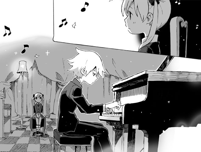 grand_piano instrument maka_albarn musical_note niwa piano sitting soul_eater soul_eater_(character)