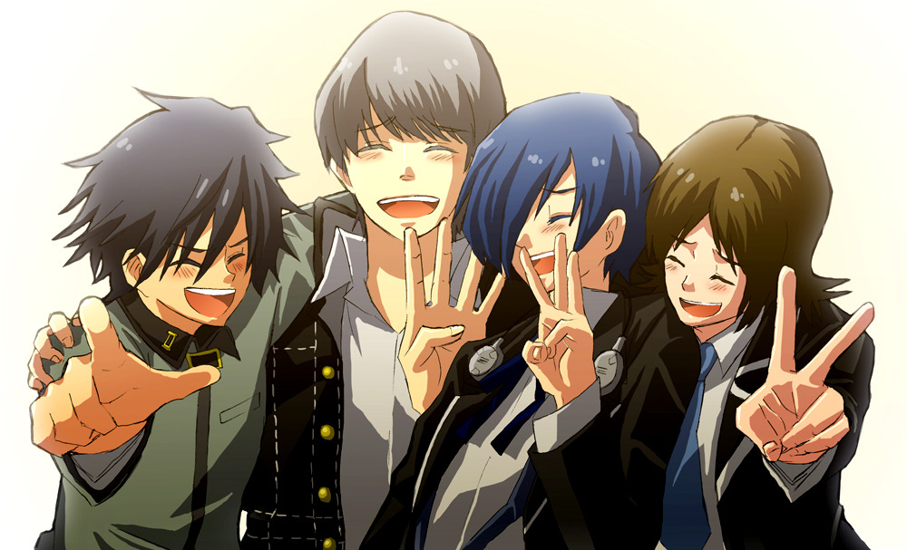 4boys arisato_minato atlus black_hair blue_hair bow bowtie brown_hair buttons closed_eyes collar crossover eyebrows fingers friends happy headphones looking_back male_focus multiple_boys narukami_yuu open_mouth persona persona_1 persona_2 persona_3 persona_4 pointing school_uniform shirt suou_tatsuya toudou_naoya white_shirt yuuki_makoto