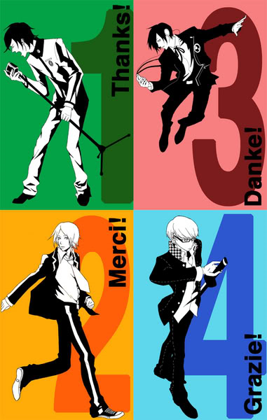 ! 4boys arisato_minato atlus belt blue bow bowtie collar converse crossover english food french fruit glasses green grey_hair hard_translated headphones italian jumping katana microphone monochrome multiple_boys music narukami_yuu necktie open_clothes open_collar open_shirt orange pants persona persona_1 persona_2 persona_3 persona_4 pink school_uniform shirt singing suou_tatsuya sweatpants sword toudou_naoya vertigine weapon white_shirt yuuki_makoto